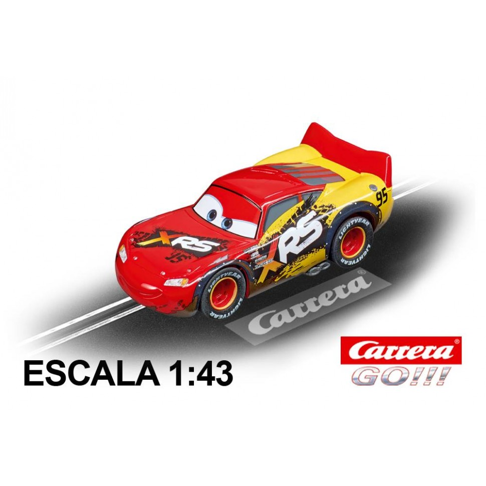 Coche Carrera Go Disney Cars Rayo McQueen Mud Racers