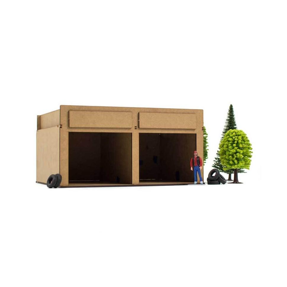 Pit Box Garaje de Madera Kit de Montaje de Decoracion Circuito de Slot