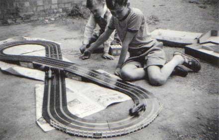 circuito de scalextric antiguo pista negra
